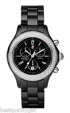 NEW-MICHELE JETWAY BLACK CERAMIC DIAMOND CHRONOGRAPH WATCH-MWW17B000009-MSR$1995