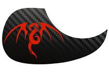 Tribal dragon guitare acoustique carbone noir pickguard Scratchplate, rouge