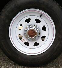 "(2) Chrome Trailer Wheel Hub Cap Covers SHARP!! 8 - 15  2.75"" emblem indent,"