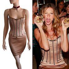 DOLCE & GABBANA vtg 2007 RUNWAY gold silk corset Gisele DRESS size 10 6 42 D&G