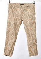 Tommy HIlfiger Parker Size 6 Tan Flat Front Cropped Zip Fly Paisley Belted Pants