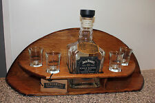 JACK DANIELS SINGLE BARREL WHISKEY OAK BOTTLE 4 SHOT GLASS HOLDER MAN CAVE BAR