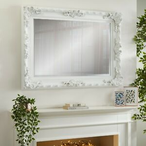 Carved Louis White Mirror 110cm x 80cm
