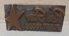 Vintage Red Star Plant Foods Logo Metal Amp Wood Letterpress Printing Block Type