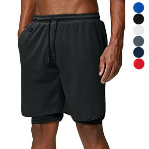 Men's 2 in 1 Running Shorts Quick Drying Breathable Training Exercise Gym Shorts