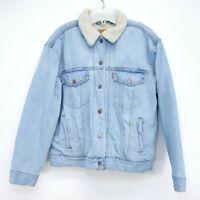 Levis Womens 36137 Blue Ex Boyfriend Sherpa Jean Denim Trucker Jacket Size Large
