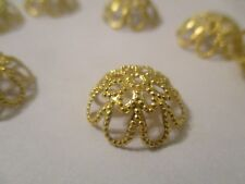 500 Gold Plated Brass Bead Caps 15 mm   Expandable A364