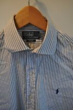 Ralph Lauren Polo blue stripe shirt size small classic mod casual