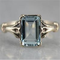 Vintage 925 Silver Aquamarine Gem Engagement Wedding Ring Wholesale Size 6-10