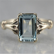 Vintage 925 Silver Aquamarine Gem Engagement Wedding Ring Wholesale Size 6-10