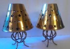 "2 Brass Candle Holders LampsTea Lights Votive 7"" tall made in India Vintage"