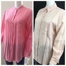 Lot 2 Liz Claiborne M Oversize Pink Plaid Sheer 100% Irish Linen Blouse Shirt r1