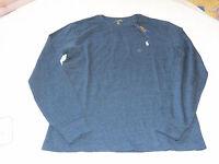 Polo Ralph Lauren Mens long sleeve T shirt XXL Blue Eclip navy hthr 565003 logo