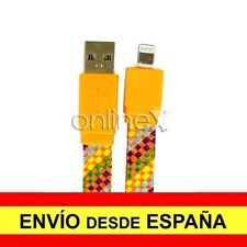 Cable Plano Trenzado Valido para iPhone iPad iPod Carga-Datos Naranja 1m a1786