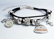 Genuine Braided Leather Charm Bracelet With Name - CATHERINE - Gifts for her