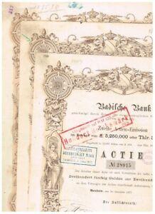 Set 3 Badische Bank, Mannheim 1871, 350 Gulden, Top-Deko, gelocht, VF - s. scans
