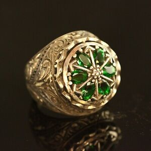 925 Sterling Silver Handmade Authentic Turkish Emerald Men's Ring Size 8-13