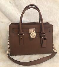NWT MICHAEL KORS Hamilton E/W Medium Saffiano Leather Satchel Purse Luggage Gold