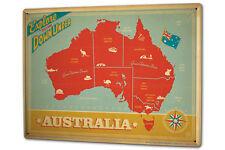 Blechschild XXL Welt Reise  Australien Karte nostalgisch