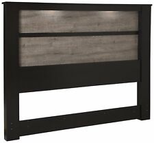 South Shore Gloria King Headboard with Lights, 78'', Chocolate and Weathered Oak