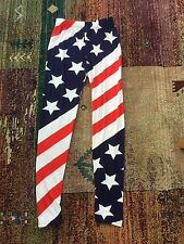 USA Stars and Stripes Ladies Leggings, One Size UK 8-12 New, With Spandex