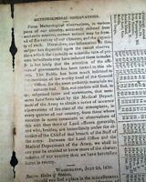 JOSEPH LOVELL Surgeon General of the United States Army 1820 Wash. DC Newspaper
