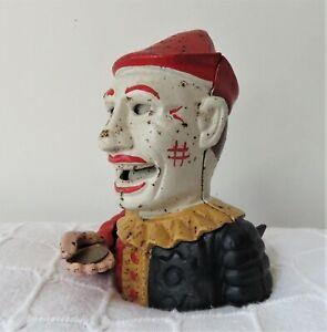 Vintage Clown Head Cast Iron Mechanical Money Box. In good working order.