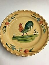 "Round Ceramic Rooster Decorative Dessert Salad Snack Plate 8.5"" diameter"
