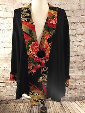 Soft Surroundings Women's Kimono Short Boucle Jacket Asian Medium Floral Black M