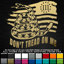 d332a3d5ef55d Tattered Flag Snake Don t Tread on Me Right 3% 2nd Amendment Sticker Decal