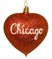 Chicago Red Glitter Heart German Christmas Ornament Illinois Decoration New