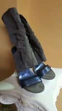 Shoe by promise open toe suede Grey with blue six and a half stiletto zipper on
