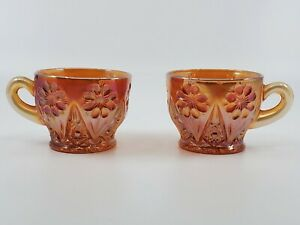 Antique Imperial Cosmos Marigold Carnival Glass Punch Cup 1917 set of 2