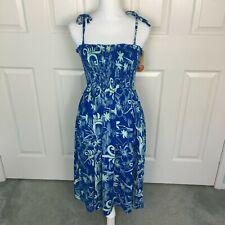 NWT HAWAIIAN FAVANT Pineapple Blue Hawaiian Theme Flower Luau Dress One Size