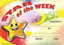 30 Star of the Week award certificates for school teachers, A5 silk finish card