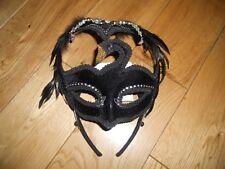 Masquerade Ball White and Black Velvet & Feather Swan Eye Mask Fancy Dress