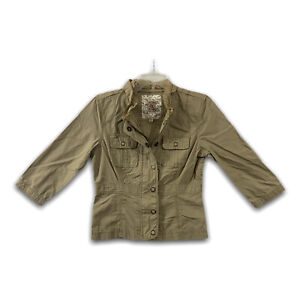 Decree Womens Khaki Utility Jacket Sz M Cotton Zip Up Snaps 3/4 Sleeves EUC