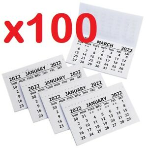 100 X 2022 Calendar Tabs Insert White Mini Calender Tear Off Pads Month To View