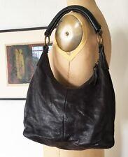 MUI MUI Brown Textured Leather Hobo Shoulder Bag