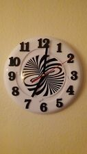Wall clock 8 inch frisbee NEW, color-white & black silent mech.