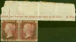 GB 1864 1d Rose-Red SG43 Pl.158 Fine MNH Inscriptional Pair