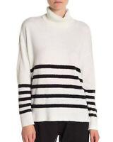 Vince Camuto Women's Turtleneck Sweater Size Large stripe black white