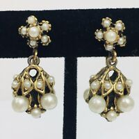 Vintage Seed Pearl Dangle Earrings Screwback Antiqued Gold Tone