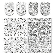 2x Black White Flower Nail Water Decal Transfer Stickers DIY Manicure Decoration