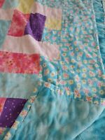 "Hand quilted floral handmade quilt53""x41 Granny squares patchwork flannel minki"