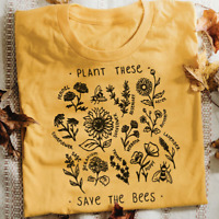 Plant These Save The Bees - Vegan Vegetarian Slogan Tshirt Tumblr Hipster Funny