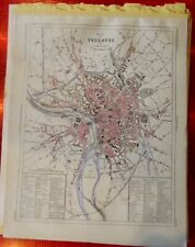 Old Map 1900 France Département plan de Toulouse Hospices Ile Monument