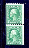 US #410 ~ MNH OG 1912 1c Regular Stamp ~ Perf 8.5Hor. / SL Wmk Coil Line Pair