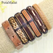 PotaMalat 6pcs Women Men Brown Leather Bangle Wristband Cuff Bracelets Gift-D33