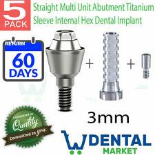 X 5 Straight Multi Unit 3mm Abutment Titanium Sleeve Internal Hex Dental Implant